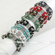 3-Rows Natural Gemstone Round Spacer Beads Flower Metal Alloy Stretchy Bracelet