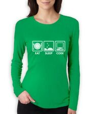 Eat Sleep Code - Funny Programmer Coder Women Long Sleeve T-Shirt Coding Geek