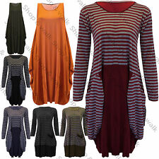 Womens Ladies Drape Flared Loose Baggy Fit Maxi Vest Dress Top Tunic Midi Shirt