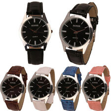 Womens Ladies Mens Watch UNISEX Leather Quartz Analog Dress Bracelet Wrist Watch