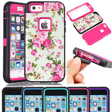 Glossy Peony Flower Pattern Hybrid Shockproof Case For iPhone & Samsung Phones