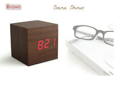 Night Vision  Led Light Time Voice Induction Temperature Wooden Gift Alarm Clock