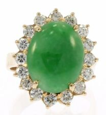 Vintage High Grade Jade and Diamond Ladies Ring in 18 Kt Yellow Gold