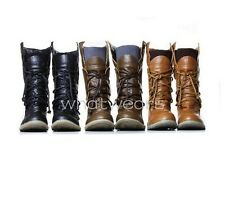Womens Lace-Up Buckle Strap Ankle fashionable Flattie Boots Shoes M2063 WUS