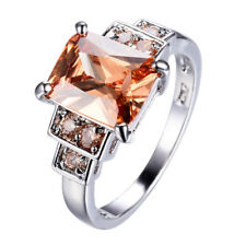 Champagne Topaz Crystal Women's 10Kt White Gold Filled Wedding CZ Ring Size 6-10