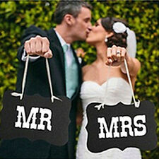 Fashion Couple Chair Mr&Mrs Signs Wedding Party Photo Props Banner Decoration