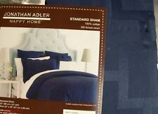 NWT Jonathan Adler Laurel Navy Blue Cotton Damask Pillow Shams Standard Euro New