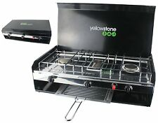 YELLOWSTONE DELUXE CAMPING DOUBLE BURNER COOKER STOVE & GRILL LID PIEZO IGNITION