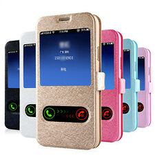 Leather Flip view window Case Cover For Samsung Galaxy S5 G900 i9600