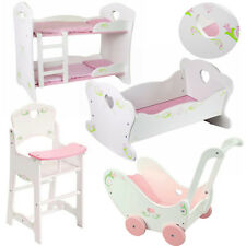 Dolls Wooden Set High Chair Rocking Crib Cot Bed Pram Pushchair Girls Toy