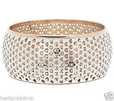 Steel by Design Bold and Wide Cutout Bangle Bracelet Two-Tone Steel Rose J272078