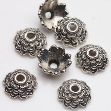 100/200Pcs Tibetan Silver Plated Carved Flower Shaped Spacer Bead Caps 8*3mm