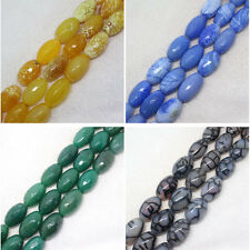 18x27mm Faceted Agate Oval Gemstone DIY jewelry making Barrel Beads 12pcs