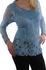 Net Tunic Long Top Lace Layered Look Pointed Crochet blouse 42, 44- 46 N 344