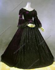 Victorian Premium Velvet Princess Dress Gown Theater Witch Halloween Costume 153