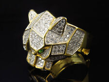 Yellow Gold Finish .925 Sterling Silver Simulated Lab Diamond Panther face Ring