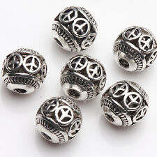 10/20Pcs Tibetan Silver Plated Round Shape Spacer Hollow Beads Findings DIY 8mm