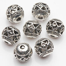 10/20Pcs Tibetan Silver Plated Carved Pattern Round Spacer Hollow Beads DIY 8mm