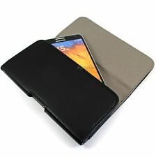 For Samsung Black Faux Leather Horizontal Pouch Belt Clip Wallet Carrying Case