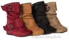New Girls Tan Black Burgundy Taupe Faux Suede Boots Winter Kids Baby Toddler