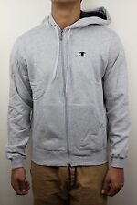 Champion Mens Eco Fleece Light Gray Zip Up Hoodie Sweatshirt