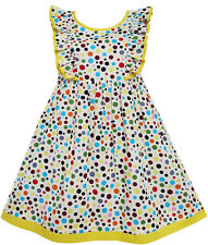 Sunny Fashion Girls Dress Polka Dot Overlap Design With Trim Yellow Size 4-10