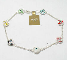 Multi Color Protective Luck Evil Eye Heart Bracelet Genuine 925 Sterling Silver