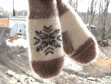 MITTENS HOME knitted 100% natural PURE SHEEP WOOL thick soft fetisn