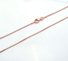 "Technibond Solid Cable Chain Necklace 14K Rose Gold Clad 925 Silver 16"" 18"" 20"""