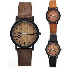 HOT Faux Leather Mens Women Natural Faux Wooden Quartz Analog Watch Watches A92