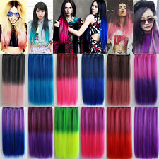 Straight Clip In Hair Extensions 5 Clips Ombre Dip Dye Party Salon Hair Piece