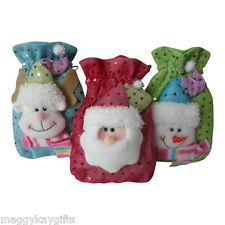 Wholesale Lots -  Luxury Mini Christmas Fabric Gift Bags - Santa - Snowman  Deer