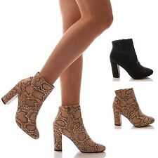 LADIES WOMENS SNAKE ANKLE BOOTS SNAKESKIN BLOCK HEEL FAUX LEATHER SHOES SIZE