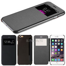 Black Leather Flip Wallet View Window Case Cover for iPhone HTC Samsung Phones