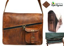 Custom Handmade Vintage Retro Look Genuine Leather Messenger Shoulder Bag Brown