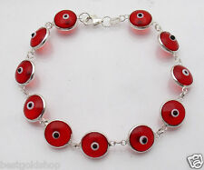 Red Color Greek Mati Evil Eye Bead Charm Bracelet Genuine 925 Sterling Silver