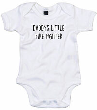 FIRE FIGHTER BODY SUIT PERSONALISED DADDYS LITTLE BABY GROW GIFT