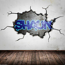 PERSONALISED GRAFFITI NAME cracked 3D wall sticker urban decal boys girls mural
