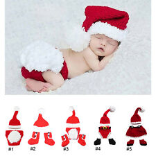 Newborn Baby Boy Girl Crochet Knitted Christmas Santa Costume Hat Outfit Clothes