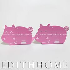 Small Animals Hippopotamus Metal Bookends / Book Stand for Kids 1pair (2pcs)