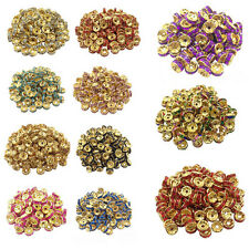 50/100Pcs Acrylic Gold Plated Crystal Round Jewelry Making Loose Spacer Beads