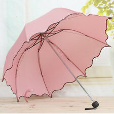 HOT Women Flouncing Folding Lotus Leaves Princess Dome Parasol Sun/Rain Umbrella