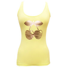OFFICIAL Pacha Ibiza: Gold Cherry Logo Womens Bright Yellow Tanktop Vest RRP £40