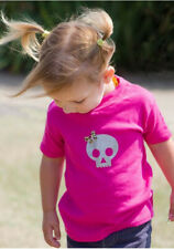 Pink Skull Tee Bow Girls Kids Punk Alternative Rockabilly Cute Shirt Silver Gift