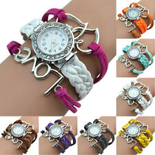 Women Girl Chic Bracelet Watch Love Heart Charm Crystal Knitting Faux Leather
