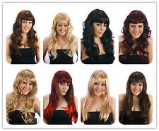 Womens Brown Black Red Blonde Long COSPLAY WIG Hair Curly Straight Fancy Dress