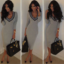 Women V Neck Long Gray Party Evening Cocktail bandage Bodycon Sexy Pencil Dress