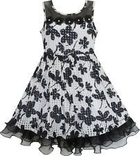 Sunny Fashion Girls Dress Lace Tulle Flower Transparent Shoulder Black Size 7-14