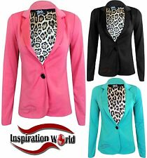 NEW Ladies Leopard Lining One Button Front Smart Blazer Womens Ponte Jacket 8-14