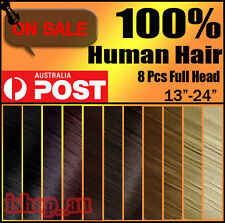 "NEW 20""22""24"" CLIP IN REAL REMY HUMAN HAIR EXTENSIONS EXTENSION ANY LENGTH iz"